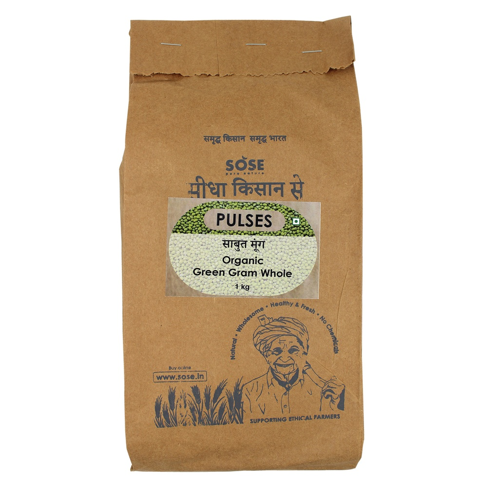 Sidha Kisan Se Organic Green Gram Whole (Sabut Moong) 1kg